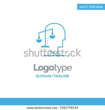 Balance, Equilibrium, Human, Integrity, Mind Blue Solid Logo Template. Place for Tagline