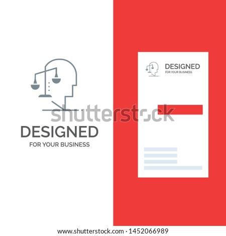 Balance, Equilibrium, Human, Integrity, Mind Grey Logo Design and Business Card Template