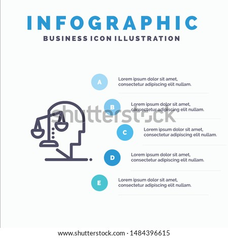 Balance, Equilibrium, Human, Integrity, Mind Line icon with 5 steps presentation infographics Background. Vector Icon Template background