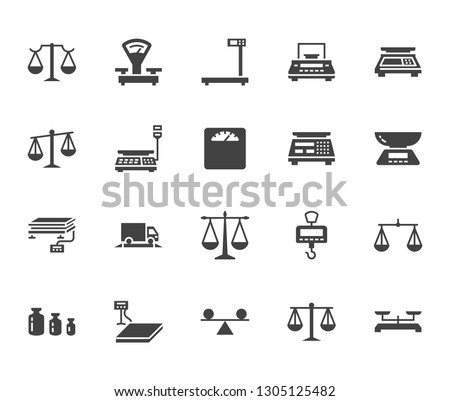 Balance flat glyph icons set. Weight measurement tools, diet scales, trade, electronic, industrial scale calibration vector illustrations. Sign justice concept. Solid silhouette pixel perfect 64x64.