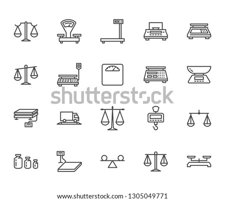 Balance flat line icons set. Weight measurement tools, diet scales, trade, electronic, industrial scale calibration vector illustrations. Thin sign justice concept. Pixel perfect 64x64 Editable Stroke
