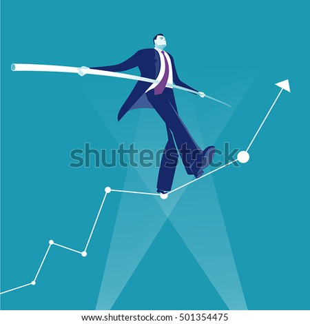 Balance. Manager balancing on the business rising chart.  Concept business vector illustration