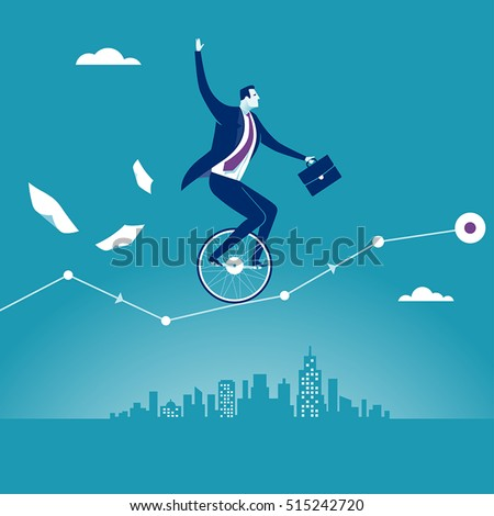 Balance. Manager balancing on unicycle trying to drive through business chart. Concept business vector illustration