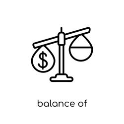 balance of payments icon. Trendy modern flat linear vector balance of payments icon on white background from thin line Balance of payments collection, outline vector illustration