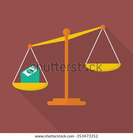 Balance scale with cash money. justice concept