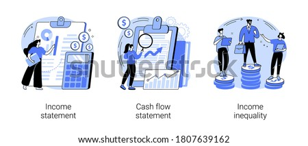 Balance sheet abstract concept vector illustration set. Income and cash flow statement, income inequality, financial plan and report, company debt, accountancy service, document abstract metaphor.