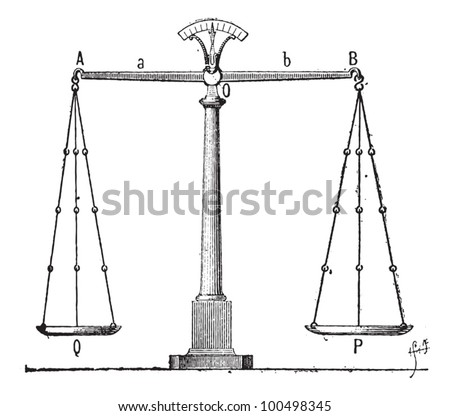Balance, vintage engraved illustration. Dictionary of Words and Things - Larive and Fleury - 1895 - stock vector