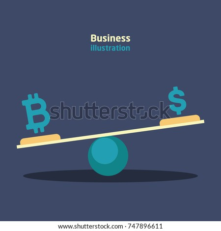 Balance with currency dollar and bitcoin currency icons with growth and recession charts on a dark blue background.