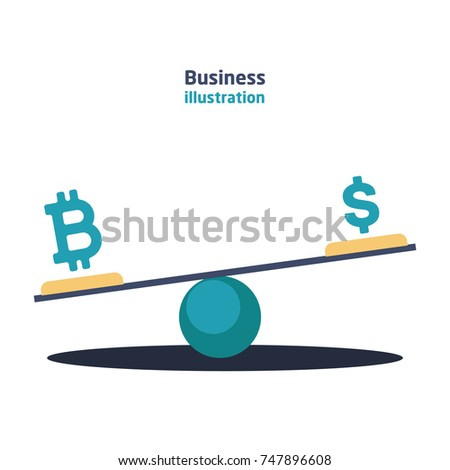 Balance with currency dollar and bitcoin currency icons with growth and recession charts on a white background.