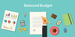 balanced budget illustration with businessman working on paper document with graph money chart paperwork