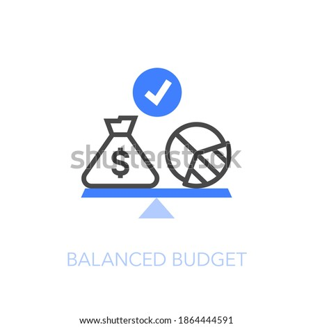 Balanced budget symbol with a money bag and a pie chart on the weight. Easy to use for your website or presentation. Foto stock ©