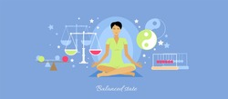 Balanced state woman icon flat isolated.  Person meditation yoga, healthcare and mood, expression feeling mental, pose relax, thinking and harmony, lifestyle emotion illustration