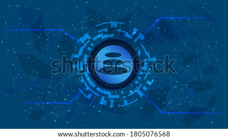 Balancer BAL token symbol of the DeFi project in a digital circle with a cryptocurrency theme on a blue background. Cryptocurrency icon. Decentralized finance programs. Copy space. Vector EPS10. Foto stock ©