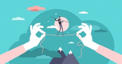 Balancing risk vector illustration. Business strategy with precise vision flat tiny persons concept. Dangerous economical moves to gain growth, profit and development. Investment crisis possibility.