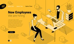 Balck and yellow isometric employee hiring interview concept  with man and woman people characters. Flat design  template for infographics, web design, banner, poster and mobile app.