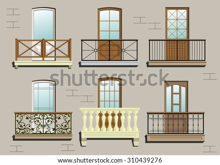Balconies. A set of different classical balconies.