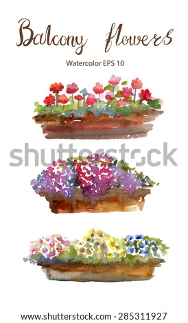 balcony flowers vector