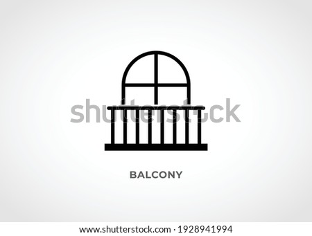 Balcony Icon. Vector outline icon representing balcony door or window