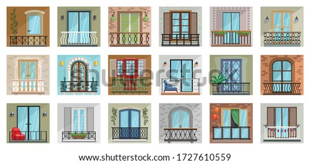 Balcony vector cartoon set icon. Vector illustration terrace on white background. Isolated cartoon set icon balcony.