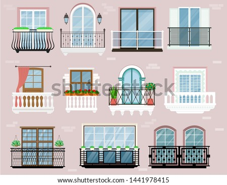 Balcony vector vintage balconied railing windows facade wall of building illustration set of beautiful architecture decor window-pane facade isolated on background