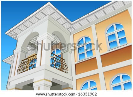 Balcony with columns and beautiful view, private residence, illustration