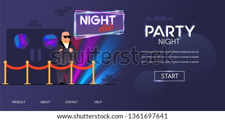 Bald Bouncer in Sunglasses Outside Night Club Entrance Vector Illustration. Cartoon Bodyguard Character at Nightclub Front Door Roped Enter. Face Control Service Dance Party Guest Checking