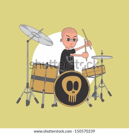 bald drummer