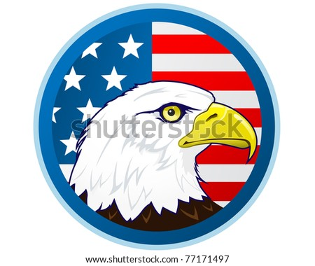 Bald eagle's head in front of American flag