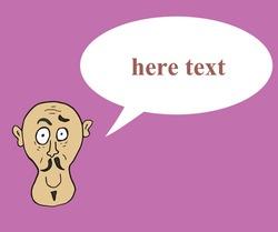 bald man avatar . vector illustration. text your message