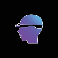 Bald Man Head Side With Google Glasses blue gradient vector icon