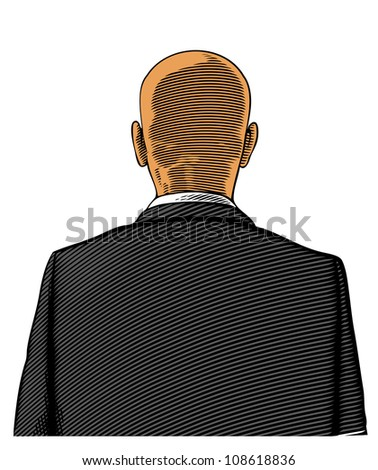 Bald man in suit from back or rear view in engraved style on transparent background