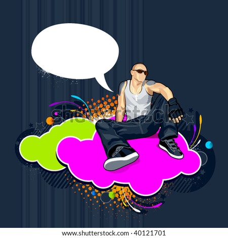 Bald man on abstract vector background with graffiti elements.
