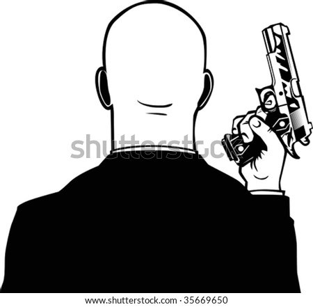 Bald man with pistol.