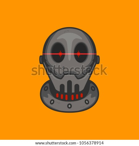 bald robot head with red