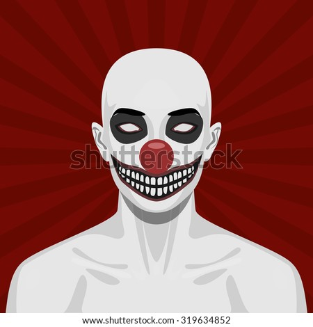 bald scary clown with smiling