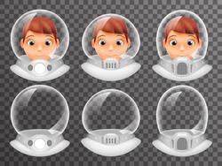 Bald Scientist Avatar Retro Realistic Helmet Cosmonaut Astronaut Spaceman Tantamareska Poster Transparent Glass Background Icon Template Mock Up Design Vector Illustration