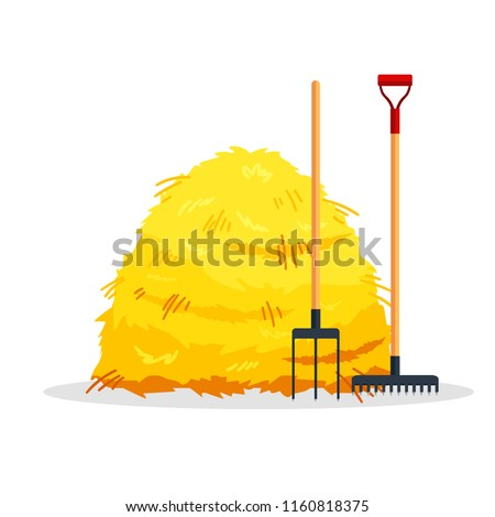 Bale of hay isolated on white background. Flat dried haystack with forks and rake, farming haymow bale hayloft, agricultural rural haycock - vector illustration