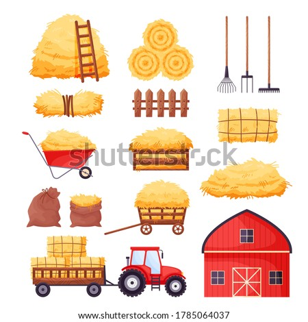 Bale of hay set. Farm barn, tractor, fence, pitchfork, rake, wheelbarrow isolated on white background. Flat dried haystack in wagon and sack, hayloft - cartoon vector illustration.