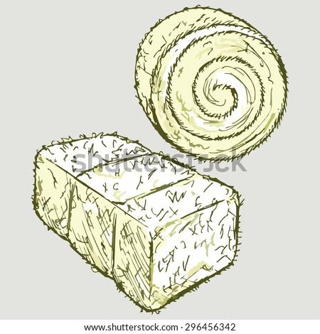 Bale of hay. Vector Image