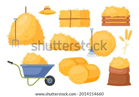 Bale of hay. Vector set of bale of hay icons with straw, wheat and rye ears, dried haystack, hayloft, roll pile, wheelbarrow, pitchfork, rake. Agricultural rural haycock. Rural farming illustration