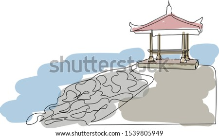 Bali beach. recreation. recreation. pagoda. Of Asia. Indonesia. one line is drawn. Balinese pavilion on the pier. bridge to the sea. gazebo. road. Seminyak, Sanur and Nusa Dua. Denpasar. Balangan