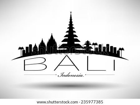 bali skyline with typography