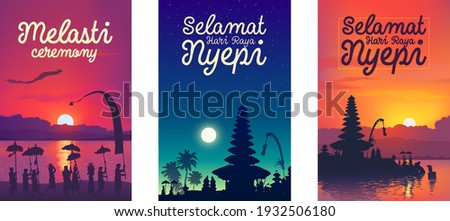 Balinese traditional hindu new year vector colourful posters templates set: Melasti ceremony, Nyepi (silence day) and Happy New Year with temples and people silhouettes