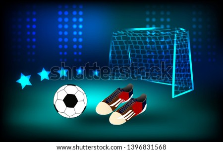 552129328 ball and soccer shoes Football background - Shutterstock ID 1396831568