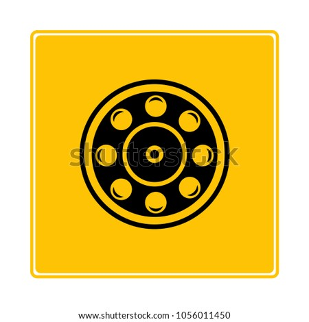 ball bearing symbol in yellow background