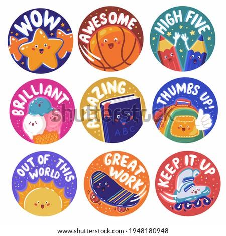Ball, book, backpack, ice cream, skateboard, rollers. Kid's reward sticker set for teacher with Children life theme. Hand drawn digital vector illustration