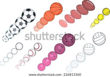 Ball collection, with Football ball, Basket ball, Tennis ball, Softball ball, Golf ball, Rugby ball, Volley ball, Bowling ball. Vector illustration cartoon.