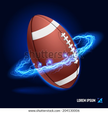 Ball for American football in blue flashes and lighting circle