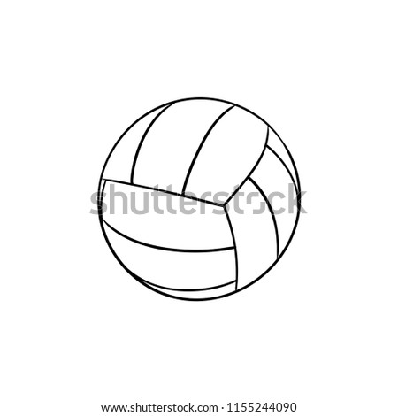Ball for playing volleyball hand drawn outline doodle icon. Valleyball equipment, game and relaxation concept. Vector sketch illustration for print, web, mobile and infographics on white background.