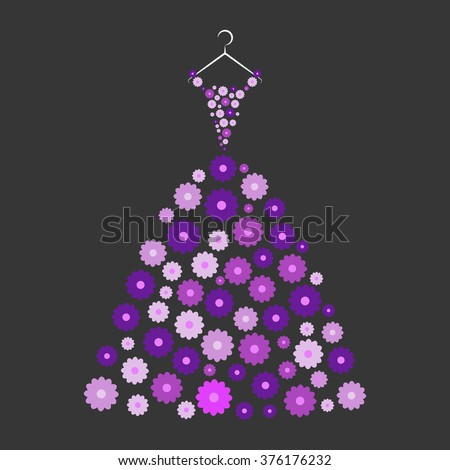 ball gown purple flowers on a